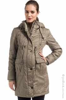 Maternity Clothes: Noppies Maternity Alan Puffer Coat Taupe - Click to enlarge