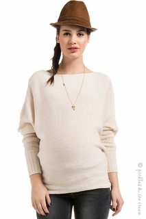 Maternity Clothes: Noppies Maternity Ivory Camilla Sweater  - Click to enlarge