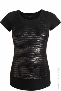 Maternity Clothes: Noppies Maternity Black Sarina Sequin Top  - Click to enlarge