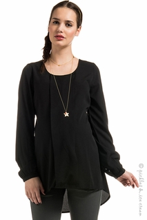 Maternity Clothes: Noppies Maternity Toria Black Chiffon Top  - Click to enlarge