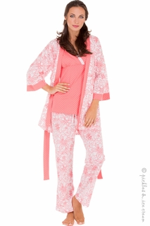 Maternity Clothes: Olian Maternity & Nursing 4-Piece Paisley Coral PJ Set - Click to enlarge