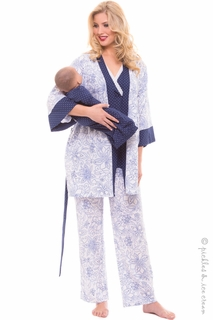 Maternity Clothes: Olian 4 Piece Navy Dot PJ Set  - Click to enlarge