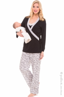 Maternity Clothes: Olian 4 Piece Black & Ivory PJ Set  - Click to enlarge
