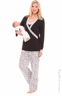 Olian 4 Piece Black & Ivory PJ Set