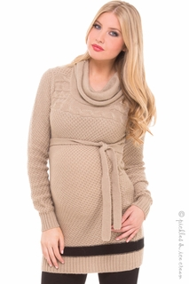 Maternity Clothes: Olian Maternity Tan & Black Cowlneck Sweater - Click to enlarge