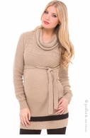 Olian Maternity Tan & Black Cowlneck Sweater