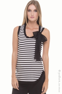 Maternity Clothes: Olian Maternity Black & White Stripe Bow Tank - Click to enlarge