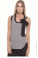 Olian Maternity Black & White Stripe Bow Tank