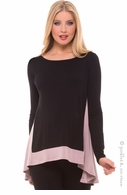 Olian Maternity HiLo Black & Blush Swing Top