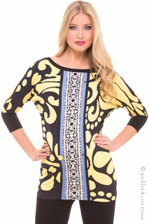 Maternity Clothes: Olian Maternity Yellow Floral Print Tunic Top - Click to enlarge