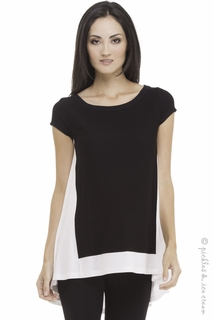 Maternity Clothes: Olian Maternity Lucy Black & Blush HiLo Top  - Click to enlarge