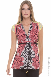 Maternity Clothes: Olian Maternity Sofia Coral Print Top - Click to enlarge