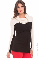 Olian Maternity Ivory & Black Cowl Neck Sweater