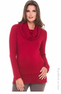 Olian Maternity Red Dotti Cowlneck Sweater