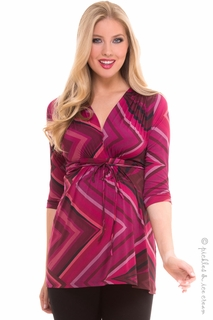 Maternity Clothes: Olian Maternity Ann Magenta Print Tunic Top - Click to enlarge