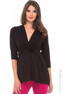 Maternity Clothes: Olian Maternity Grecian Kimono Top Black - Click to enlarge