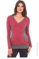 Olian Maternity & Nursing Red & Grey Stripe Hoodie