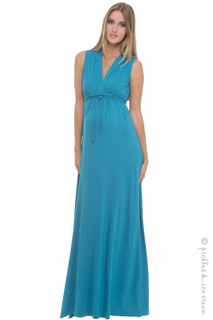 Maternity Clothes: Olian Maternity Turquoise Maxi Dress  - Click to enlarge