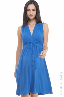 Maternity Clothes: Olian Maternity Ocean Blue Sleeveless Tieback Dress - Click to enlarge