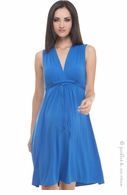 Olian Maternity Ocean Blue Sleeveless Tieback Dress