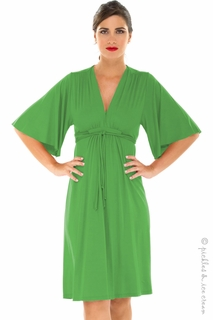 Maternity Clothes: Olian Maternity Kelly Green Lycra Grecian Dress  - Click to enlarge