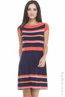 Maternity Clothes: Olian Maternity Mara Orange & Navy Dress - Click to enlarge