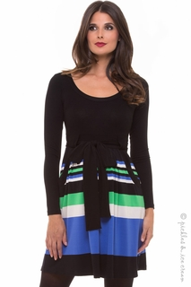 Maternity Clothes: Olian Maternity Blue & Green Patti Pockets Dress - Final Sale  - Click to enlarge