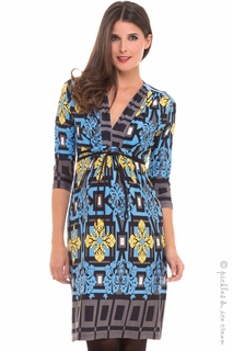 Maternity Clothes: Olian Maternity Blue & Yellow Mosaic Juliette Dress - Click to enlarge