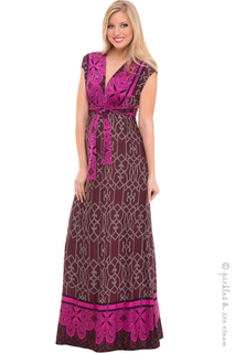 Maternity Clothes: Olian Maternity Ella Burgundy Tricot Print Maxi Dress  - Click to enlarge