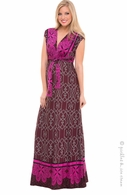 Olian Maternity Ella Burgundy Tricot Print Maxi Dress