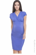 Olian Maternity Periwinkle Side Ruched Dress