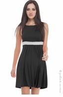 Olian Maternity Simple Black & Ivory Dress