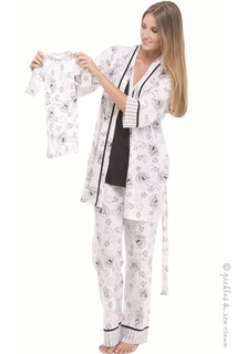 Maternity Clothes: Olian Black & White Toile 4 piece PJ Set  - Click to enlarge
