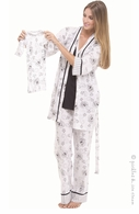 Olian Black & White Toile 4 piece PJ Set