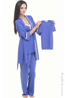 Maternity Clothes: Olian Cornflower Blue Tricot 4 Piece PJ Set  - Click to enlarge