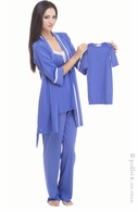 Olian Cornflower Blue Tricot 4 Piece PJ Set