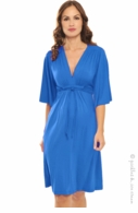 Olian Maternity Bright Blue Lycra Grecian Dress