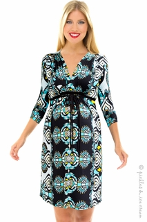 Olian Maternity Aqua Print Dia Dress