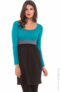 Maternity Clothes: Olian Maternity Eva Teal Colorblock Dress - Click to enlarge