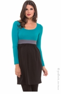 Olian Maternity Eva Teal Colorblock Dress
