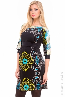 Maternity Clothes: Olian Maternity Karen Aqua Floral Boatneck Dress - Click to enlarge