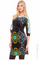 Olian Maternity Karen Aqua Floral Boatneck Dress