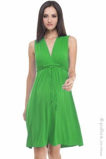 Maternity Clothes: Olian Maternity Kelly Green Sleeveless Tieback Dress  - Click to enlarge