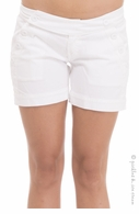Olian Maternity Underbelly Buttoned Cotton Shorts - Final Sale