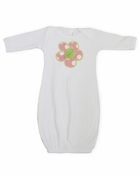 Push Grace Pink & White Polka Dots Flower Baby Gown