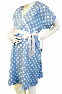 Push Blue & White Polka Dot Delivery Gown