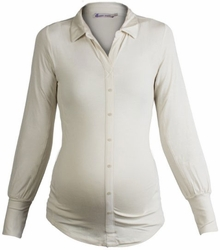 Maternity Clothes: Queen Mum Maternity Ivory Faux Button-Up Work Top-Final Sale - Click to enlarge