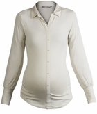 Queen Mum Maternity Ivory Faux Button-Up Work Top-Final Sale