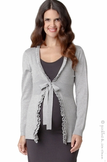 Maternity Clothes: Ripe Maternity Frilly Cardigan Grey Marle - Click to enlarge