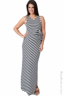 Maternity Clothes: Ripe Maternity Midnight & White Side-Tie Maxi Dress  - Click to enlarge